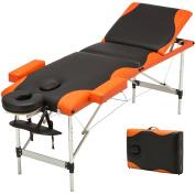 New Aluminium 3 Fold Portable Massage Table Facial SPA Bed Tattoo w/Free Carry Case Orange