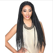 YUOIOYU 80cm Black Box Braid Wig Long African American Braided Wigs Synthetic Lace Front Wig for Black Women