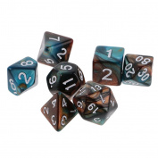 MagiDeal 7 pieces Two Colours Polyhedral Dice 16mm for Dungeons and Dragons Table Games Green Gold