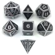 Set of Solid Metal Dice-Shiny Sliver with Black Enamel-DnD Dice Set-Polyhedral Dice Set-RPG Dice Set