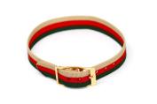 12MM TAN RED GREEN STRIPED NYLON ONE PIECE SLIP THRU ACTIVE WATCH BAND STRAP