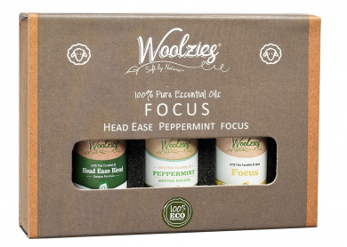 Woolzies Essential oil gift set of 3 essential oils (Focus, Head ease, Peppermint, Focus)