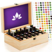 Essential Oil Box - Wooden Storage Case Holds 35 Bottles & Tall Roller Bottles. Natural Pine Wood. Free EO Labels & Foam Pad. Best For Keeping 5ml 10ml, 15ml & 1oz Drams Safe