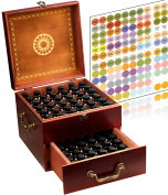 Beautiful 2 Tier Essential Oil Box Organiser With 2 Carry Handles (72 Bottle) Holds 5-30ml 1oz 2oz 4oz & 10ml Roller Bottles - Free METAL Roller Bottle Opener & 192 Essential Oil Labels