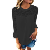Blouse,Orangeskycn Women Ladies 3/4 Sleeve Frill Tops Ladies Embroidery Lace Shirt Blouse T Shirt