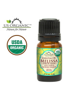US Organic 100% Pure Melissa (Lemon Balm/Sweet Balm) Essential Oil - USDA Certified Organic, Steam Distilled - W/ Euro Dropper