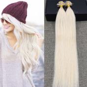 Full Shine 50cm U Tip Hair Extension Real Human Hair Colour #60 Platinum Blonde Straight Keratin Remy Human Hair Extension 1g/ Strand
