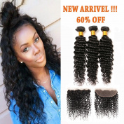 Brazilian Hair Deep Wave 3 Bundles 100% Remy Hair with 13x4 Ear to Ear Free Part Full Lace Frontal with Baby Hair Bleached Knots for Black Women Natural Colour 16 18 20+12 Frontal