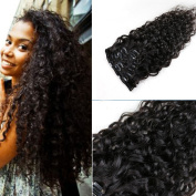 Human Hair Clip-in Extension Natural Colour Water Wave,Mongolian Hair,120G/Set,8Pcs,18 Clips