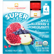 Happy Squeeze® Organic Super Apple, Blueberry & Pomegranate Blended Fruit Snack 4-90ml Box
