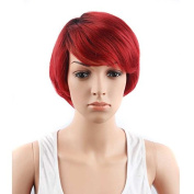 TopWigy Women's 23cm Short Wigs Heat Resistant Red Wave Hair Wigs for Black White Women Cool Daily Replacement Wig + Wig Cap