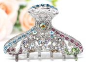 woman 8.3cm large vintage style rhinestone crystal metal hair claw clip jaws by beautyxyz