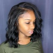 1x 4 Opening Size Right U Part Human Hair Wigs for Black Women Brazilian Virgin Hair Short Lace Front Wigs Wavy Human Hair Bob Wig