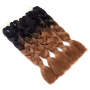 "Two Tone Ombre Jumbo Braid Hair Extension 24"" 5Pcs/Lot 100g/pc High Temperature Kanekalon Synthetic Fibre for Twist Braiding Hair"