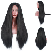 Light Yaki Straight 250%Density Fashion Long Natural Straight 10%Human Hair+90%Heat Resistant Fibre Glueless Lace Front Synthetic Wig For Women