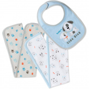 Bon Bebe Newborn Baby Boys' Bib & Burp Cloth Set