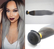 Romantic Angels 30cm ~70cm Remy Brazilian Hair Straight Two Tone Ombre Human Hair Weft 1 Bundle 100g Col:#1b/grey