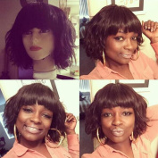 Natural Short Human Hair Wigs with Bangs Glueless Lace Front Wigs Short Wavy for Black Women