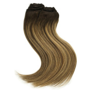 Stella Reina Clip In Hair Extensions 160g/10pcs Dip Dye Balayage Colour #2/27 Honey Blonde Highlights on Dark Brown Subtle Ombre Real Human Hair Straight Clips On Enrich Hair Volume 50cm Inch