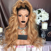 Fantasy Beauty Honey Blonde Human Hair Wigs Ombre Lace Front Wig 1B 27 360 Lace Frontal Wigs Loose Wave Full Lace Wigs For Black Women 2 Tone Dark Roots Wig