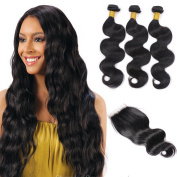 Brazilian Virgin Hair Body Wave Human Hair 3 Bundles With Closure 4x4 Lace Top Closure With Baby Hair and Unprocessed Wavy Hair Extensions Natural Black