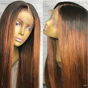 Ten Chopstics Full Lace Wig Silky Straight 130% Density Ombre 1B 30 Colour Human Hair Wig with Baby Hair Virgin Hair Glueless Lace Front Wig Bleached Knots