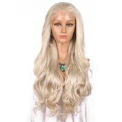 Addcolo Blonde Wig,Synthetic Lace Front Wigs Body Wave Natural Hairline Synthetic Wig Lace Front Wavy Replacement Full Wig