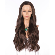 Addcolo Body Wave Synthetic Wig Wavy Chestnut Brown Synthetic Wig Lace Front Replacement Full Wig for Black Women with Natural Hairline Pre Plucked