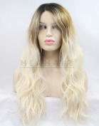 HEAHAIR Natural Ombre Golden Platinum Blonde Wavy Synthetic lace Front WigsHS0031