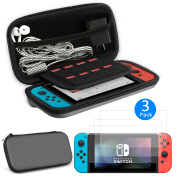 EEEKit 2in1 Starter Kit for Nintendo Switch, Carrying Travel Hard Shell Case w/ Game Cartridge Holder + 3 Pcs Clear HD Full Coverage Screen Protector