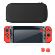 Nintendo Switch Starter Kit, by Insten Travel Carrying Case + Joy Con (L/R) Cover + Thumb Grip Stick Caps + Screen Protector For Nintendo Switch Console Controller, Black/Red