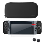 Nintendo Switch Starter Kit, by Insten Travel Carrying Case + Joy Con (L/R) Cover + Thumb Grip Stick Caps (Style 2) + Screen Protector For Nintendo Switch Console Controller, Black/Black