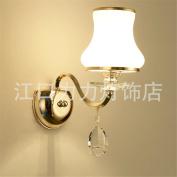 European Wall Lamp Pure Natural Crystal Living Room Wall Lamp Bedroom Bedside Light Corridor Lighting, 340mm*250mm