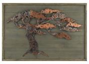 Aged Green Wood & Metal Tree Wall Art
