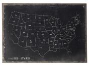 Black / Chalk Chalk Outline Map Of Usa On Black Canvas