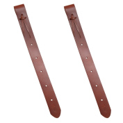2 Pack Brown Leather Rear Western Saddle Rear Flank Straps Set