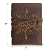 LEATHER JOURNAL TREE OF LIFE Writing Notebook - Handmade Leather Bound Daily Notepads For Men & Women Blank Paper Large 20cm x 15cm - Best Gift for Art Sketchbook, Travel Diary & Journals to Write in