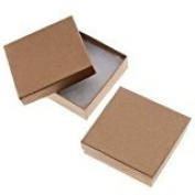 12 Pack Cotton Filled Brown Kraft Paper Cardboard Jewellery Gift and Retail Boxes 3 X 7.6cm X 2.5cm Size by R J Displays