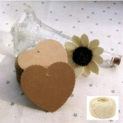 Lwestine 300PCS Heart Kraft Paper Gift Tags Wedding Party Favours, With 50m Natural Jute Twine