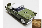 Diecast Car & Accessory Package - 1956 Ford Thunderbird Closed Convertible, Green - Motormax 73312 - 1/24 scale Diecast Model Toy Car w/display case