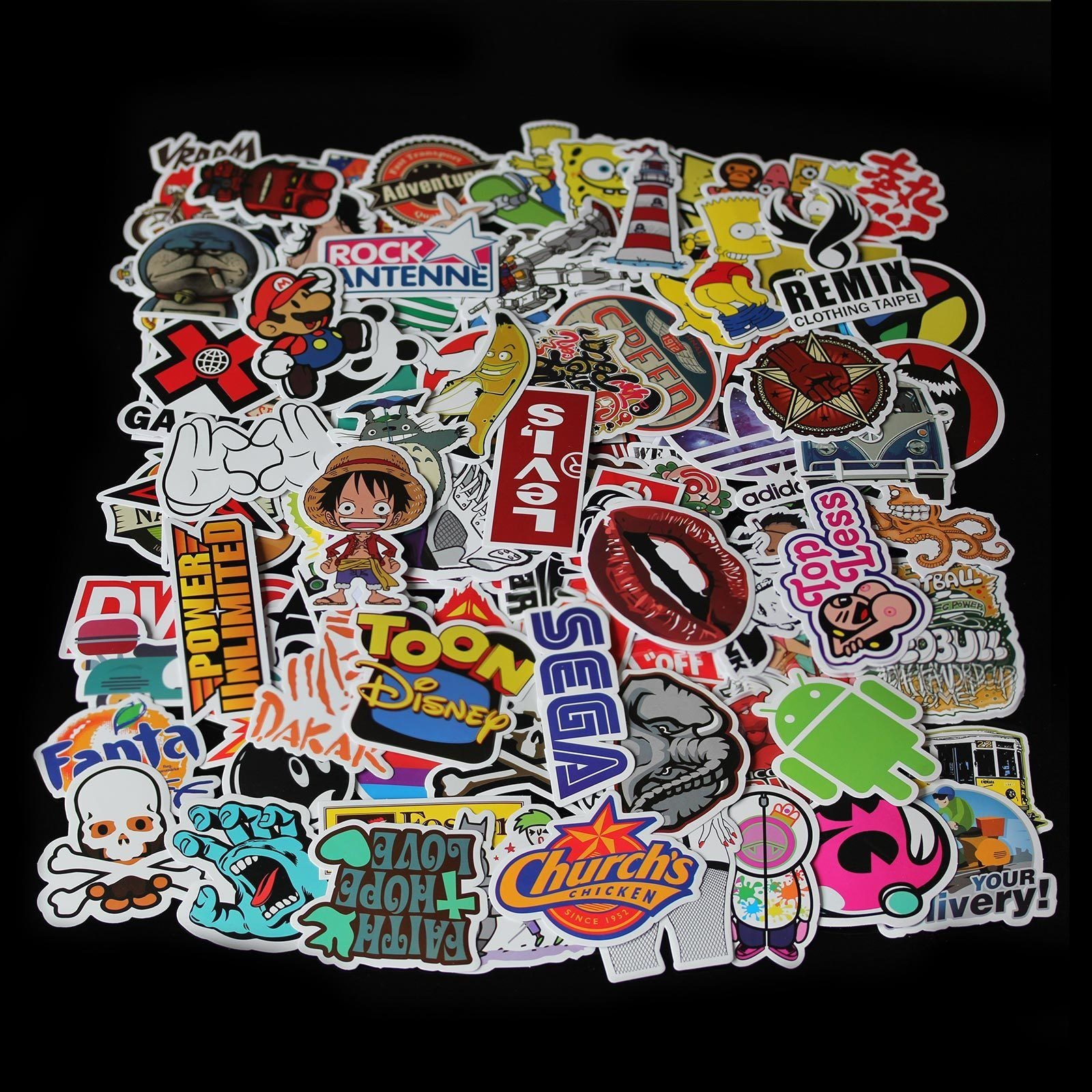 "Sticker autocollant /""Skater main 1/"" Stickerbomb laptop skateboard"