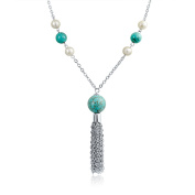 Bling Jewellery Simulated Pearl Synthetic Turquoise Tassel Necklace Rhodium Plated