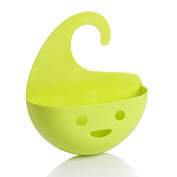Sorliva Hanging Drain Basket,Storage Bag,Smile Face Creative Household Multifunctional Kitchen Bath Organiser Green