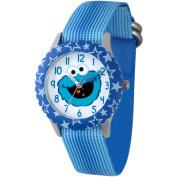 Sesame Street Cookie Monster Boys' Stainless Steel Time Teacher Watch, Blue Bezel, Blue Stripe Nylon Strap