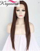 K'ryssma Natural Looking Long Brown Straight Wigs for Women Realistic Soft Hair Synthetic Lace Front Wig UK High Quality Half Hand Tied Heat Resistant Fibre 60cm