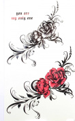 "GGSELL GGSELL new design product dimension 6.69""x3.74""(17*9.5cm) black rose and red rose tattoo sticker for women"