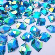 . 16x21mm Blue AB Cosmic Shape Flatback Sew on Acrylic Fancy Crystal Clear Sewing Rhinestone For DIY Clothes Dress Accessories 40PCS