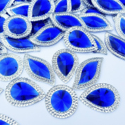 Sparkly Glitter Different Sizes Blue Sew on Rhinestones Sewing For Crafts Evening Dress Garments Decorations 60pcs