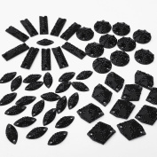 Special Effect Glitter Different Sizes Black Sew on Rhinestones Sewing For Crafts Dress Garments Decorations 80pcs
