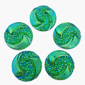 Big Beads Special Effect Green AB Round Sew on Rhinestones Flatback Sewing For Crafts Clothes Dress Garments Decorations 20mm 30pcs